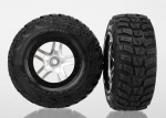 6874R Tires & wheels, assembled, glued (S1 ultra-soft off-road racing compound) (SCT Split-Spoke satin chrome, black beadlock style wheels, Kumho tires, foam inserts) (2) (4WD front/rear, 2WD rear only)