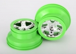 "6875 Wheels, SCT, chrome, green beadlock style, dual profile (2.2"" outer, 3.0"" inner) (2) (4WD front/rear, 2WD rear only)"