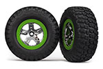 6876 Tires & wheels, assembled, glued (SCT, chrome, green beadlock wheel, BFGoodrich® Mud-Terrain™  T/A® KM2 tire, foam inserts) (2) (4WD front/rear, 2WD rear only)