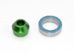 6893G Bearing adapter, 6061-T6 aluminum (green-anodized) (1)/ 10x15x4mm ball bearing (black rubber sealed) (1) (for slipper shaft)