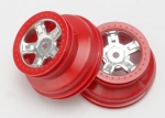 7072A Wheels, SCT satin chrome, red beadlock style, dual profile (1.8