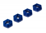 7154X Wheel hubs, hex, aluminum (blue-anodized) (4)