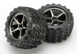 7174A Tires and wheels, assembled, glued (Gemini black chrome wheels, Talon tires, foam inserts) (2)