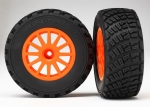 7473A Tires & wheels, assembled, glued (orange wheels, BFGoodrich® Rally, gravel pattern tires, foam inserts) (2) (TSM rated)