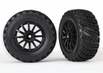 7473T Tires & wheels, assembled, glued (black wheels, gravel pattern tires, foam inserts) (2) (TSM rated)