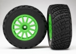 7473X Tires & wheels, assembled, glued (Green wheels, BFGoodrich® Rally, gravel pattern tires, foam inserts) (2) (TSM rated)