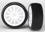 7572 Tires & wheels, assembled, glued (12-spoke white wheels, slick tires) (2)
