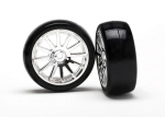 7573 Tires & wheels, assembled, glued (12-spoke chrome wheels, slick tires) (2)