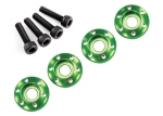 7668G Wheel nut washer, machined aluminum, green / 3x12mm CS (4)