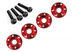7668R Wheel nut washer, machined aluminum, red / 3x12mm CS (4)
