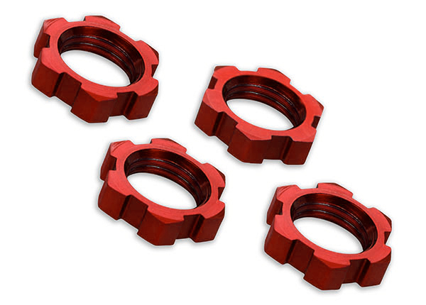 7758R Wheel nuts, splined, 17mm, serrated (red-anodized) (4)
