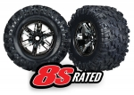 7772A Tires & wheels, assembled, glued (X-Maxx® black chrome wheels, Maxx® AT tires, foam inserts) (left & right) (2)