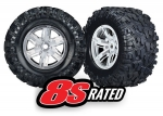 7772R Tires & wheels, assembled, glued (X-Maxx® satin chrome wheels, Maxx® AT tires, foam inserts) (left & right) (2)