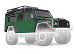 8011G Body, Land Rover® Defender®, green (complete with ExoCage, inner fenders, fuel canisters, and jack)