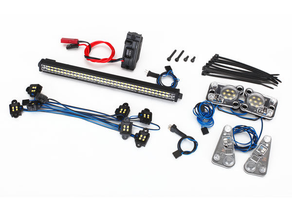 Traxxas 8030 LED light set ,  complete (contains rock light kit ,  LED light bar (Rigid®) ,  LED headlight / tail light kit ,  power supply ,  & 3-in-1 wire harness) (fits #8011 body)