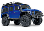 BLUE TRX-4® Scale and Trail™ Crawler with Land Rover® Defender® Body:  1/10 Scale 4WD Electric Trail Truck. Ready-to-Drive® with TQi Traxxas Link™ Enabled 2.4GHz Radio System, XL-5 HV ESC (fwd/rev), and Titan® 550 motor.