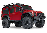 Red TRX-4 Scale and Trail Crawler with Land Rover® Defender® Body:  1/10 Scale 4WD Electric Trail Truck. Ready-to-Race® with TQi Traxxas Link Enabled 2.4GHz Radio System, XL-5 HV ESC (fwd/rev), and Titan 550 motor.