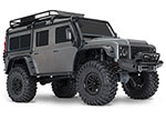 Silver TRX-4® Scale and Trail™ Crawler with Land Rover® Defender® Body:  1/10 Scale 4WD Electric Trail Truck. Ready-to-Drive® with TQi Traxxas Link™ Enabled 2.4GHz Radio System, XL-5 HV ESC (fwd/rev), and Titan® 550 motor.