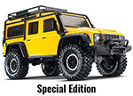 YELLOW TRX-4® Scale and Trail™ Crawler with Land Rover® Defender® Body:  1/10 Scale 4WD Electric Trail Truck. Ready-to-Drive® with TQi Traxxas Link™ Enabled 2.4GHz Radio System, XL-5 HV ESC (fwd/rev), and Titan® 550 motor.