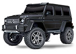 BLACK TRX-4® Scale and Trail™ Crawler with Mercedes-Benz® G 500®  4x4²  Body:  1/10 Scale 4WD Electric Trail Truck. Ready-to-Drive® with TQi Traxxas Link™ Enabled 2.4GHz Radio System, XL-5 HV ESC (fwd/rev), and Titan® 550 motor.