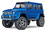 BLUE TRX-4® Scale and Trail™ Crawler with Mercedes-Benz® G 500®  4x4²  Body:  1/10 Scale 4WD Electric Trail Truck. Ready-to-Drive® with TQi Traxxas Link™ Enabled 2.4GHz Radio System, XL-5 HV ESC (fwd/rev), and Titan® 550 motor.