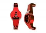 8232R Caster blocks, 6061-T6 aluminum (red-anodized), left and right