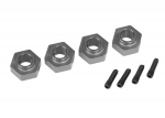 8269A Wheel hubs, 12mm hex, 6061-T6 aluminum (charcoal gray-anodized) (4)/ screw pin (4)