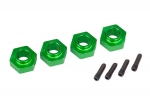 8269G Wheel hubs, 12mm hex, 6061-T6 aluminum (green-anodized) (4)/ screw pin (4)