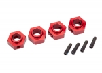 8269R Wheel hubs, 12mm hex, 6061-T6 aluminum (red-anodized) (4)/ screw pin (4)