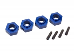 8269X Wheel hubs, 12mm hex, 6061-T6 aluminum (blue-anodized) (4)/ screw pin (4)
