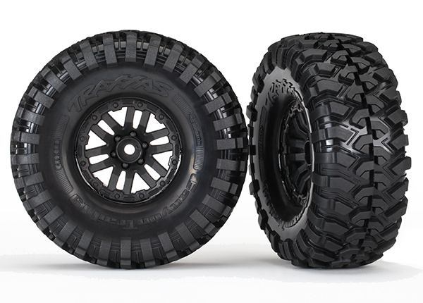 8272 Traxxas 1.9 Tires and wheels assembled glued for crawler / TRX-4 (2) TRX8272