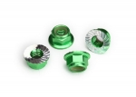 8447G Nuts, 5mm flanged nylon locking (aluminum, green-anodized, serrated) (4)