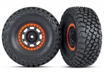 8472 Tires and wheels, assembled, glued (Desert Racer® wheels, black with orange beadlock, BFGoodrich® Baja KR3 tires) (2)