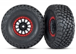 8474 Tires and wheels, assembled, glued (Method Race Wheels, black with red beadlock, BFGoodrich® Baja KR3 tires) (2)