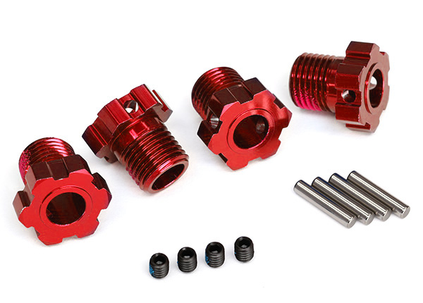 8654R Wheel hubs, splined, 17mm (red-anodized) (4)/ 4×5 GS (4)/ 3x14mm pin (4)