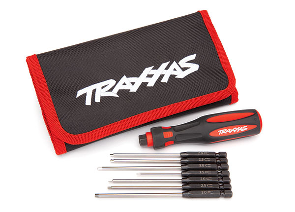 Traxxas 8711 Speed Bit Master Set ,  hex driver ,  7-piece straight and ball end ,  includes premium handle (medium) ,  travel pouch ,  hex drivers (straight: 1.5mm ,  2.0mm ,  2.5mm ,  3.0mm) (ball end: 2.0mm ,  2.5mm ,  3.0mm) ,  1 / 4' drive