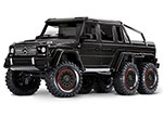Gloss Black TRX-6™ Scale and Trail™ Crawler with Mercedes-Benz® G 63® AMG Body:  1/10 Scale 6X6 Electric Trail Truck. Ready-to-Drive® with TQi Traxxas Link™ Enabled 2.4GHz Radio System, XL-5 HV ESC (fwd/rev), and Titan® 550 motor.