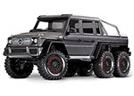 Matte Graphite TRX-6™ Scale and Trail™ Crawler with Mercedes-Benz® G 63® AMG Body:  1/10 Scale 6X6 Electric Trail Truck. Ready-to-Drive® with TQi Traxxas Link™ Enabled 2.4GHz Radio System, XL-5 HV ESC (fwd/rev), and Titan® 550 motor.