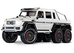 Metallic White TRX-6™ Scale and Trail™ Crawler with Mercedes-Benz® G 63® AMG Body:  1/10 Scale 6X6 Electric Trail Truck. Ready-to-Drive® with TQi Traxxas Link™ Enabled 2.4GHz Radio System, XL-5 HV ESC (fwd/rev), and Titan® 550 motor.