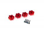 8956R Wheel hubs, hex, aluminum (red-anodized) (4)/ 4x13mm screw pins (4)