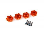 8956T Wheel hubs, hex, aluminum (orange-anodized) (4)/ 4x13mm screw pins (4)