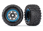 8972A Tires & wheels, assembled, glued (black, blue beadlock style wheels, Maxx® MT tires, foam inserts) (2) (17mm splined) (TSM® rated)