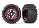 8972R Tires & wheels, assembled, glued (black, red beadlock style wheels, Maxx® MT tires, foam inserts) (2) (17mm splined) (TSM® rated)