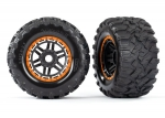 8972T Tires & wheels, assembled, glued (black, orange beadlock style wheels, Maxx® MT tires, foam inserts) (2) (17mm splined) (TSM® rated)