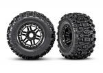 "8973 Tires & wheels, assembled, glued (black wheels, dual profile (2.8"" outer, 3.6"" inner), Sledgehammer™ tires, foam inserts) (2) (17mm splined) (TSM® rated)"