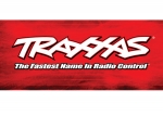 9909 Traxxas® racing banner, red & black (3x7 feet)