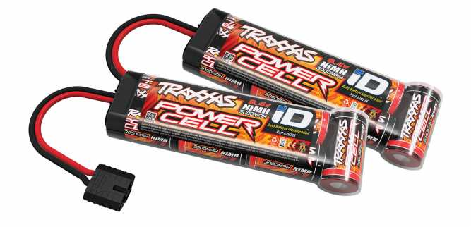 Dual Traxxas Power Cell iD NiMH Battery (8.4V, 3000mAh)