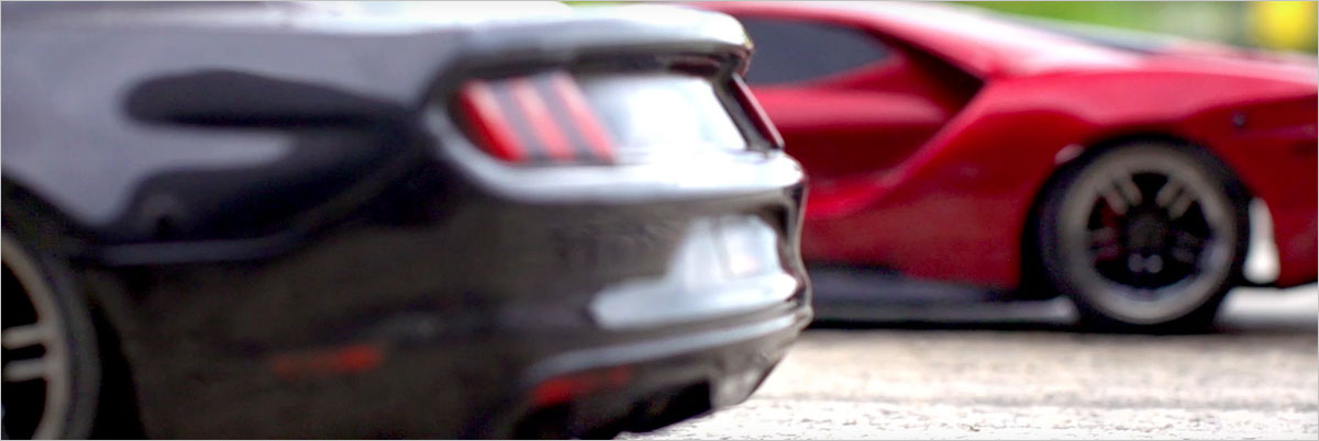 Racing the Traxxas Ford GT and Mustang GT