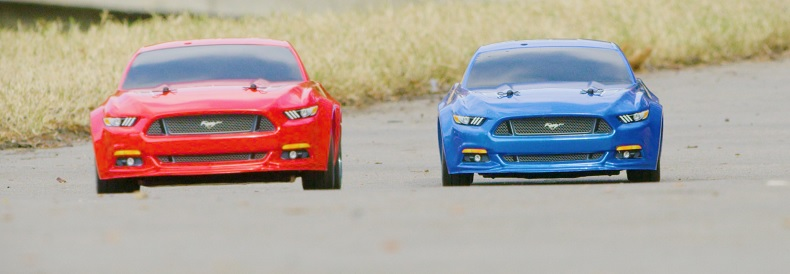 Red and Blue Mustang
