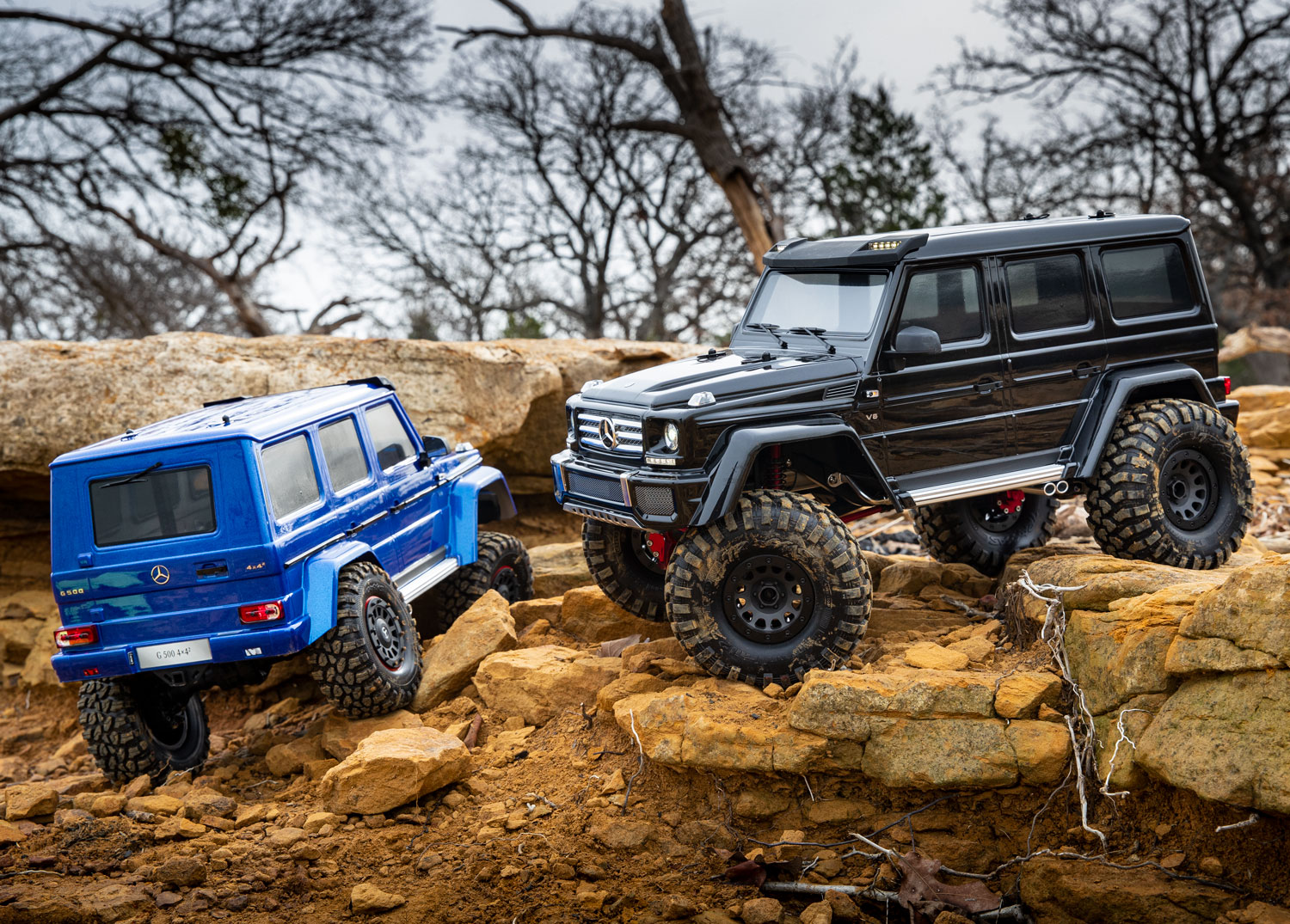 Blue and black modified TRX-4 G 500s